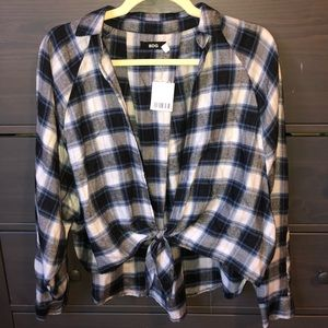 Crop Tie Up Plaid Flannel